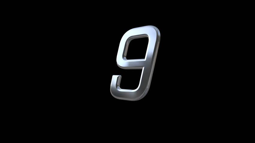 Floating 3D chromium digits countdown from 10 to 1. (av23123c)