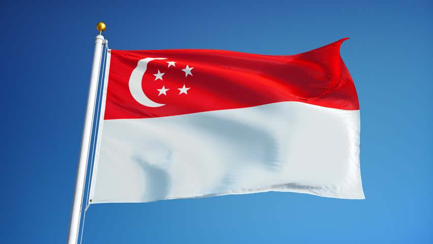 Singapore Flag Waving in Slow Stock Footage Video (100% Royalty ...
