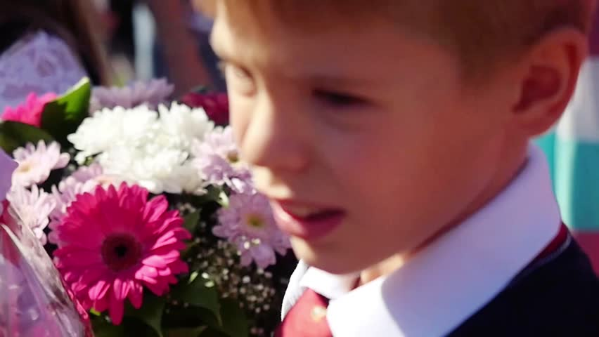 Novosibirsk, Russia September 1, 2015. School line is in schoolyard with pupils and teachers. Children go back to school. The Knowledge Day in Russia, first day of school. #15144007