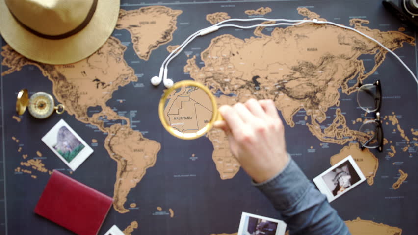 Two young people together planning trip to Europe. Top view. | Shutterstock HD Video #15144847