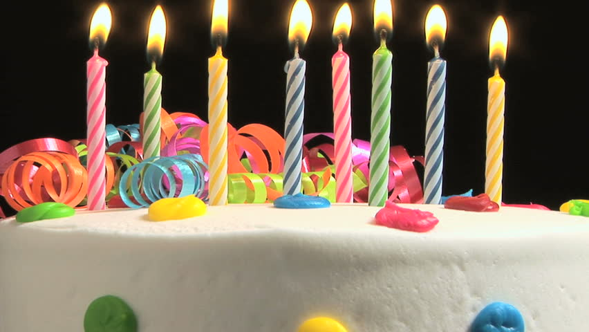 Simple birthday cake with candles