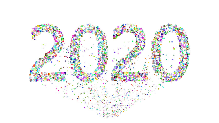 Exploding new year 2020 over white