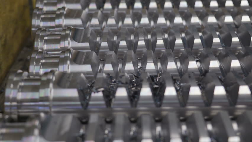 Closer look of the metal tubes after milling process. There are lines on the flat surface of the tubes | Shutterstock HD Video #15167599