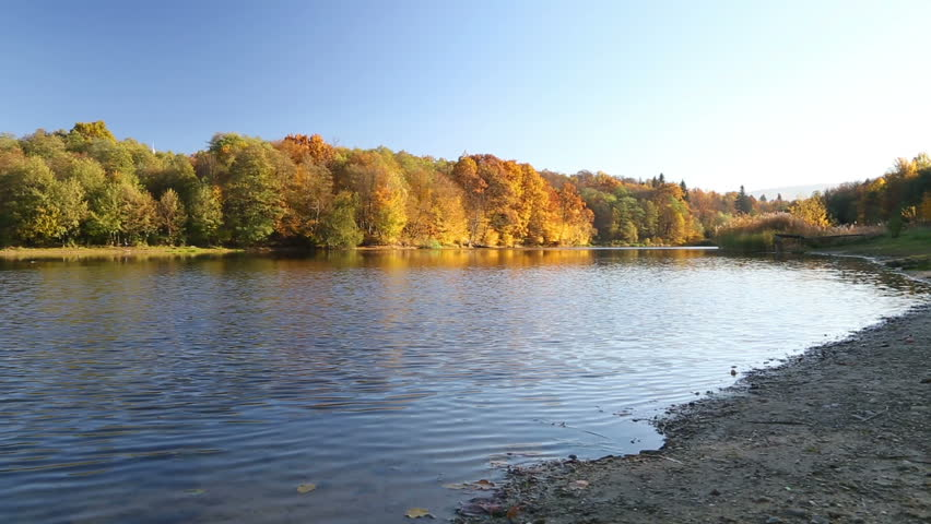 Beautiful autumn landscape on the river | Shutterstock HD Video #15177913