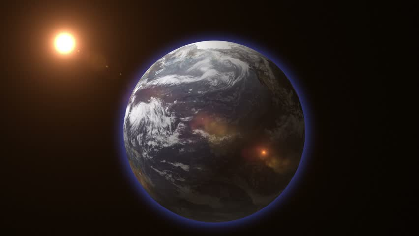 3d earth stylized spinning planet with lens flare sun | Shutterstock HD Video #15178012