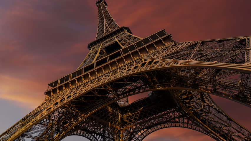 Timelapse of Eiffel Tower and gorgeous sunset, Paris #15196297