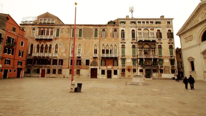 Ancient buildings, Square in Venice, Venezia - VENICE, ITALY MARCH 25, 2010 | Shutterstock HD Video #15199306