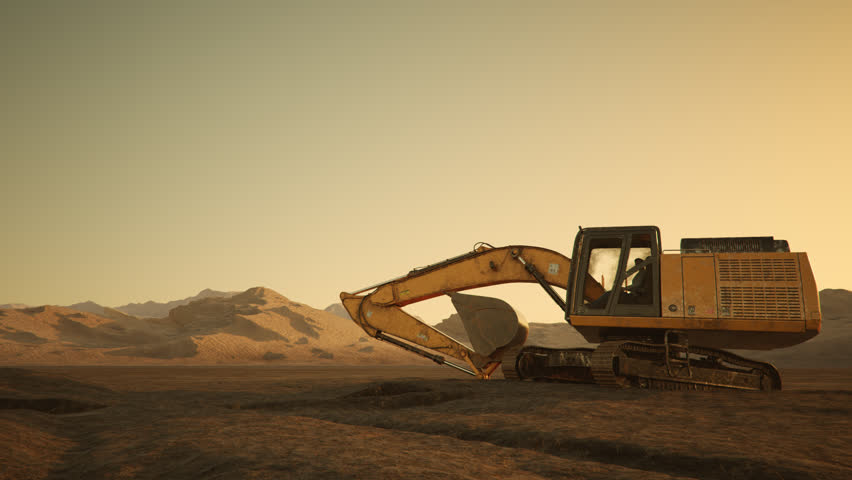 02562 Excavator Rotate At Construction Site