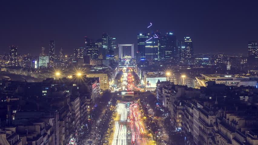 Paris, France | 4K Timelapse Sequence of the Financial district and The Avenue de la Grande Armée at night