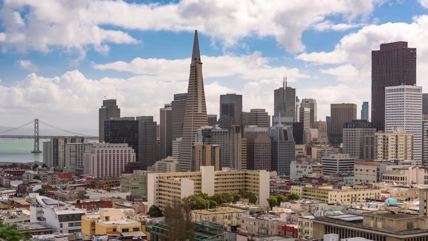 San Francisco, California, USA downtown skyline time lapse.