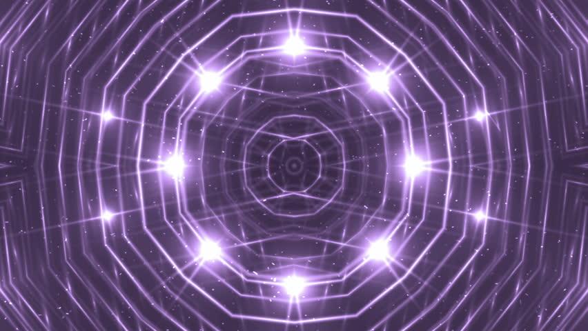 VJ Fractal violet kaleidoscopic background. Background purple motion with fractal design. Disco spectrum lights concert spot bulb. Light Tunnel. #15230803