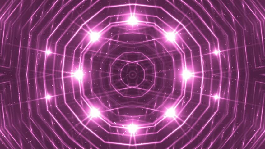 VJ Fractal pink kaleidoscopic background. Background magenta motion with fractal design. Disco spectrum lights concert spot bulb. Light Tunnel. #15231385