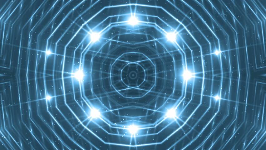 VJ Fractal blue kaleidoscopic background. Background motion with fractal design. Disco spectrum lights concert spot bulb. Light Tunnel. #15231544