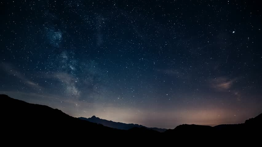 Timelapse night sky stars milky way on mountains background. 4K. Tuscany  | Shutterstock HD Video #15267883