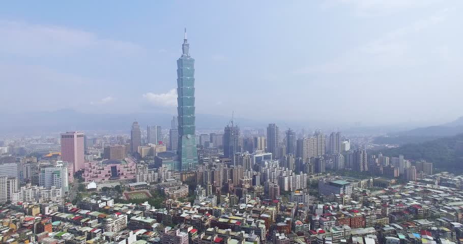 4K Aerial view of financial district in city of Taipei, Taiwan