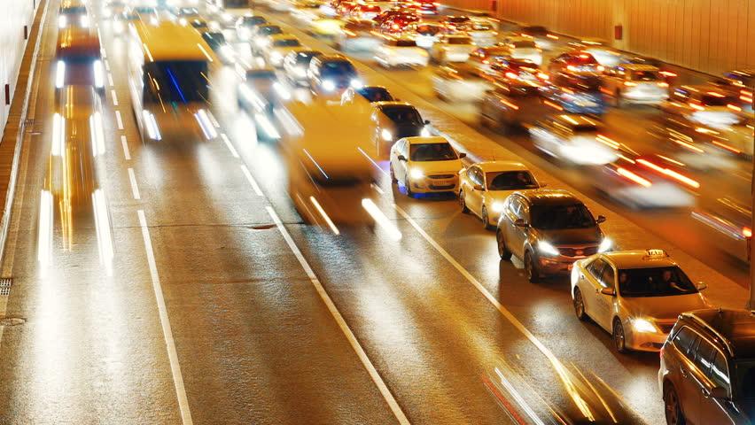 Heavy traffic in night city. Time-Lapse | Shutterstock HD Video #15334012