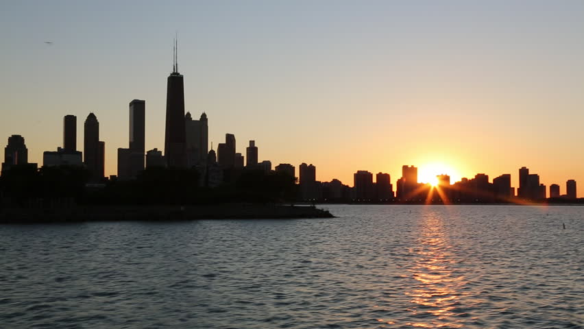 Chicago skyline silhouette at sunset from Lake Michigan / Chicago, Illinois - USA., June, 2012 | Shutterstock HD Video #15344230