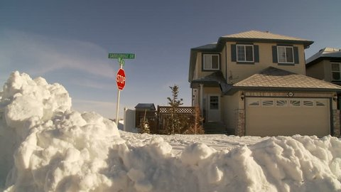 buried street, after a huge snow storm