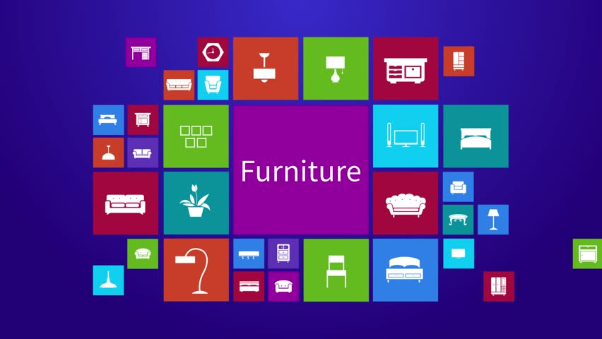 Trendy computer or mobile application app program animation of flat home appliance furniture and interior decoration tool icon in colorful geometric square block window background set 2 in 4k ultra hd #15359938