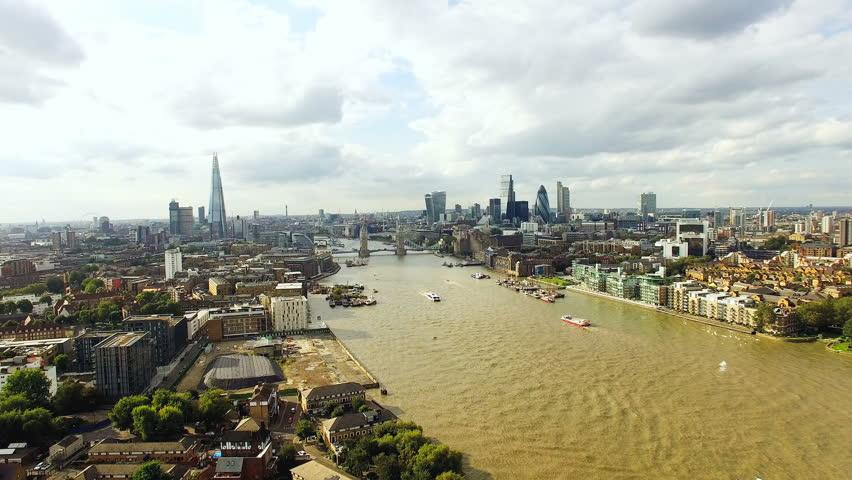 4K Modern City of London Skyline Aerial View famous landmarks | Shutterstock HD Video #15377779