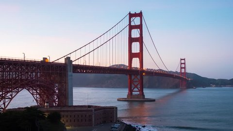 SAN FRANCISCO - 2 MAR: Zoom in timelapse view the Golden Gate Bridge at dusk, on 2 March 2015 in San Francisco, USA
