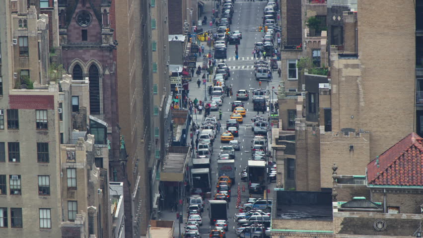 Timelapse looking down onto a street scene in new york with a extreme zoom lens | Shutterstock HD Video #1539604