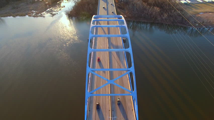 Scenic Tower Drive Bridge at sunrise, stunning aerial view on Spring morning.