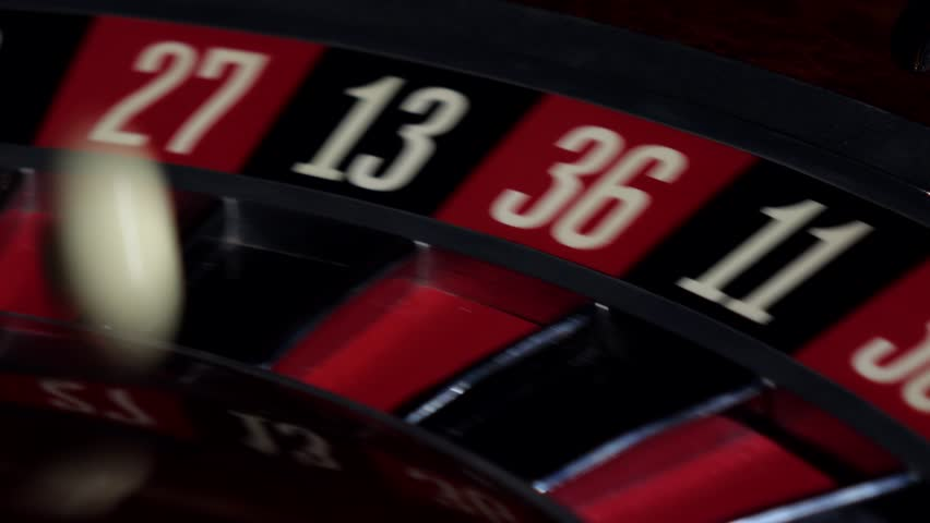 Roulette wheel running, numbers, close up
