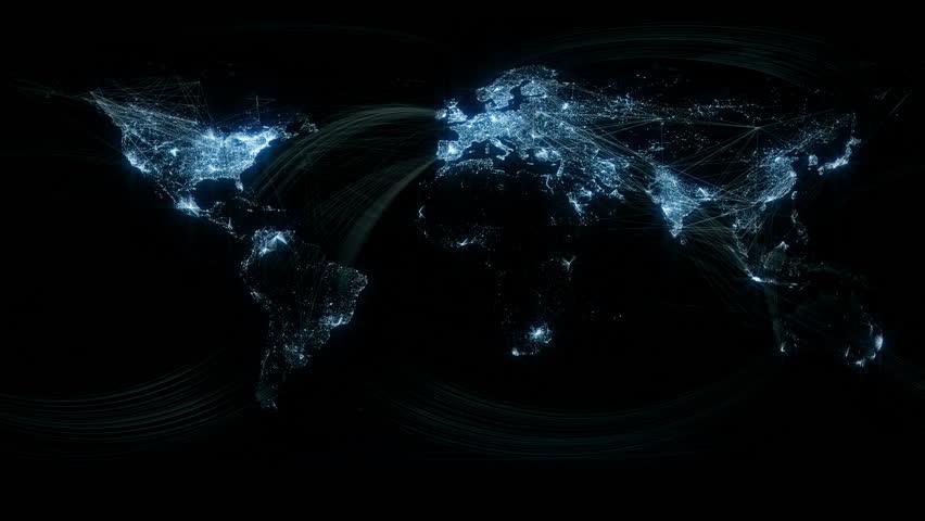 Glowing Network Lines Lighting Up World Map | Shutterstock HD Video #1540954