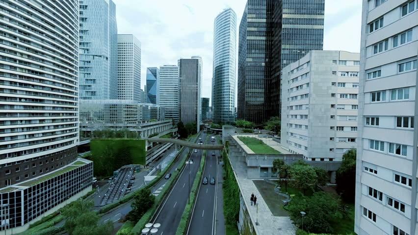 Establishment shot of city skyline panorama. modern urban city landmark business district background   | Shutterstock HD Video #15430534