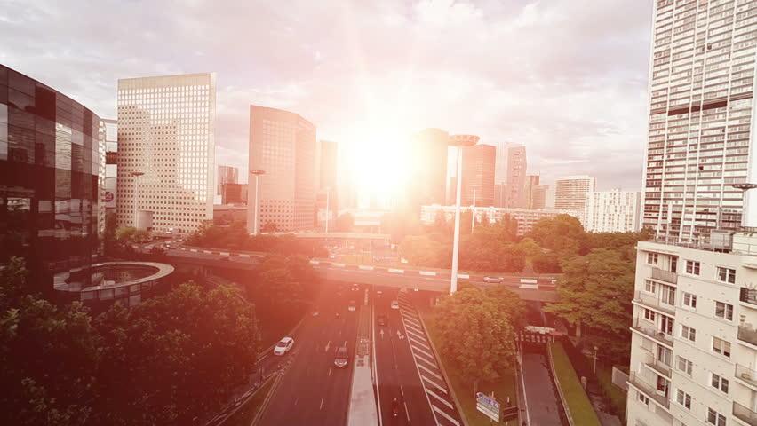 Modern city business district. high rise urban cityscape landmark background  | Shutterstock HD Video #15430783