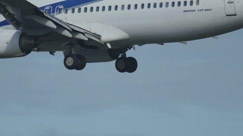 FRANKFURT AM MAIN, GERMANY - SEPTEMBER 4, 2015: ElAl Israel Airlines Boeing 737 4X-EKP landing at runway 25L. Unofficial spotting in Fraport on Sep. 4, 2015