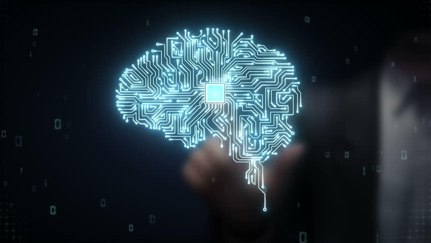 Businessman touching Brain CPU chip, grow artificial intelligence Royalty-Free Stock Footage #15450451