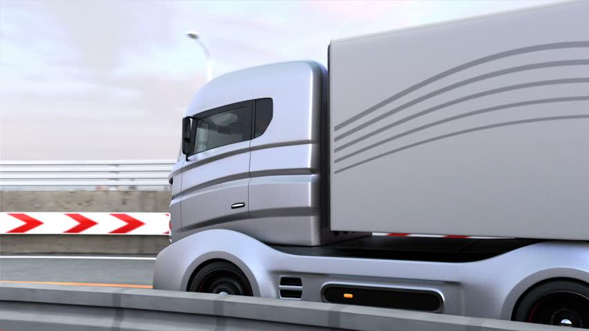 Full 3DCG animation of autonomous hybrid truck driving on highway.