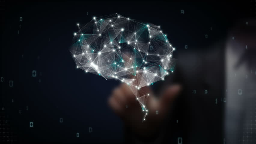 Businessman touching Brain connect digital lines, expanding artificial intelligence Royalty-Free Stock Footage #15451471