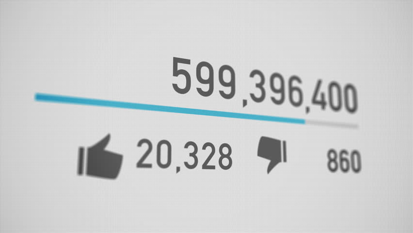 A close up of a video counter quickly increasing to 1 billion views. Perspective version.  	 #15464077
