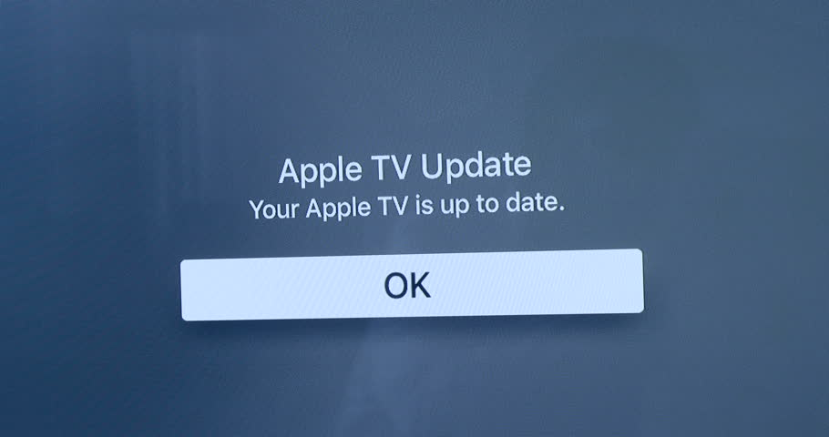 PARIS, FRANCE - CIRCA 2016: Your Apple TV is up to date message on plasma TV screen on blue background | Shutterstock HD Video #15465274