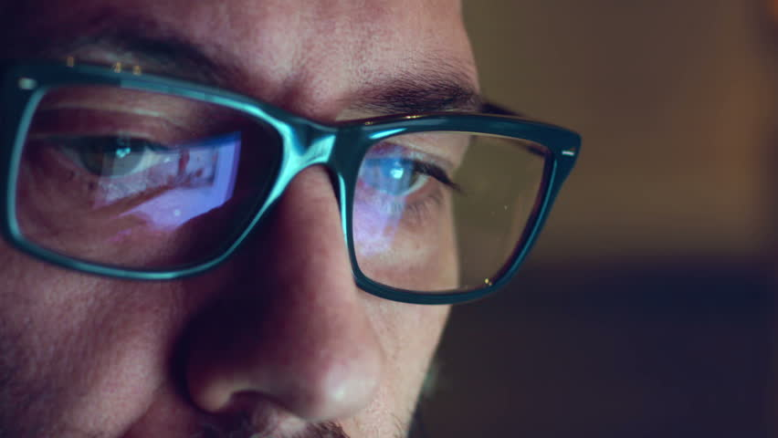 Creative Mature Adult Man Chatting Browsing at late night  - Close Up shot with Display Glasses Reflection | Shutterstock HD Video #15466384