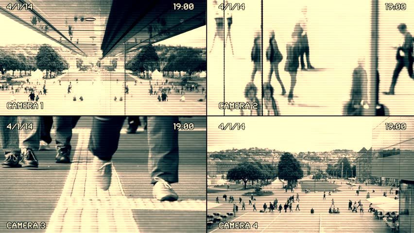 Split screen surveillance camera background. cctv security monitoring. people walking in the city street  | Shutterstock HD Video #15468403