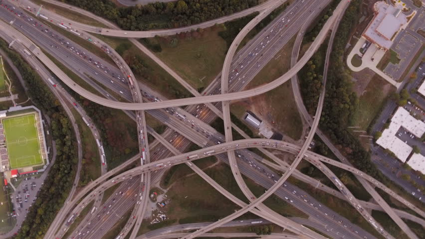 Atlanta Aerial v103 Flying panning vertical shot over Spaghetti Junction freeways.