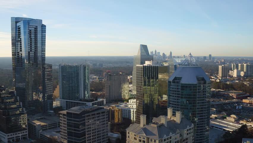 Atlanta Aerial v156 Flying over Buckhead downtown towards Atlanta cityscape.