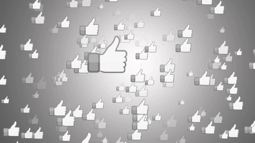 """SAN FRANCISCO, USA - April 1, 2016: """"Facebook Like Button"""" From Bright White Surface. Facebook is The Most Popular Online Social Networking Service in the World. Editorial Animation."""