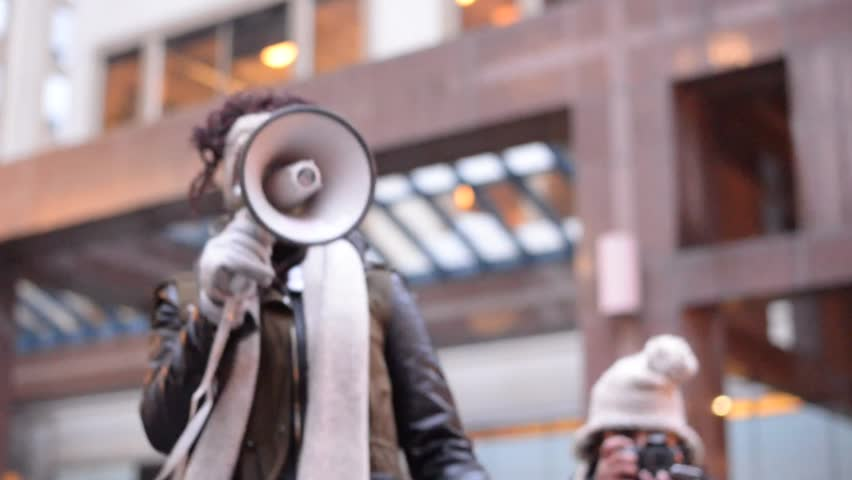 "TORONTO, ONTARIO/CANADA - 24th March Thursday 2016: Black Lives Matter Toronto protesters chants "" Black Lives Matter "" in Toronto,Canada."