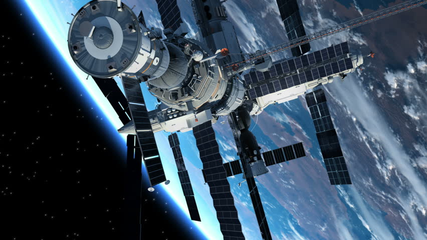 Astronaut Outside The Space Station. 3D Animation.