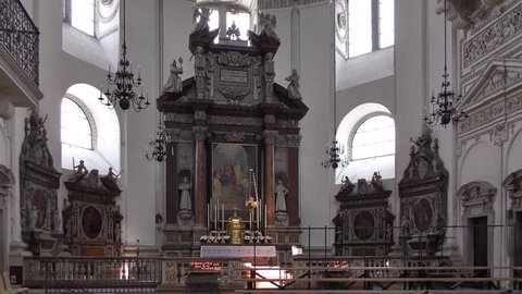 SALZBURG, AUSTRIA - APRIL 8, 2015: Interior of the Salzburg Cathedral on April 8, 2015, in Salzburg, Austria. Salzburg Cathedral (German: Salzburger Dom) is a seventeenth-century Baroque cathedral.