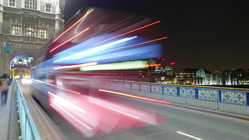 Time lapse shot of traffic on London Tower Bridge Hyper lapse - LONDON / ENGLAND  JANUARY 17, 2016 | Shutterstock HD Video #15512872