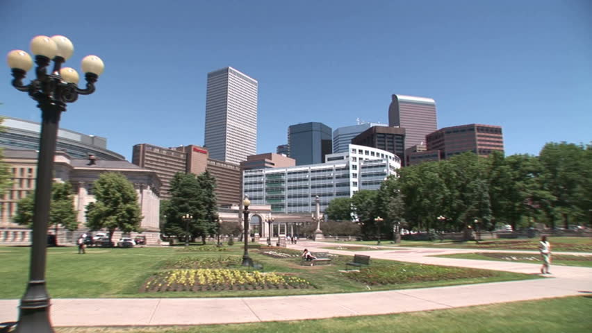 Footage of Civic Center Park in Denver, Colorado and a great statue with a cowboy riding a horse