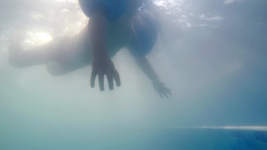 Baby boy swimming or floating in swimming pool as seen from underwater SLOW MOTION | Shutterstock HD Video #15569740