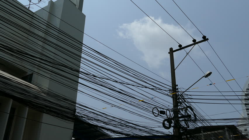 Electricity wires at the street in Silom Bangkok Thailand | Shutterstock HD Video #15595351