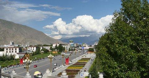 Oct 12,2015:4k Lhasa traffic,Tibet.white puffy cloud mass in the blue sky. gh2_08921_4k